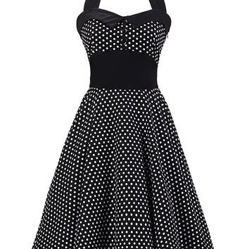 Polka Dot Print Halter Backless Sleeveless Midi Skater Dress