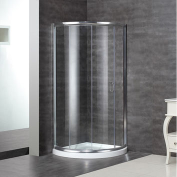 Aston Round Sliding Shower Door Enclosure with Low-Profile Base