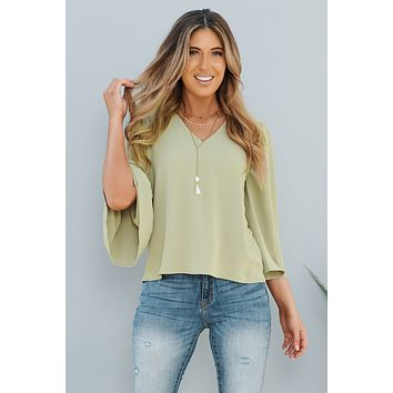 While You're Ahead Top (Light Olive)