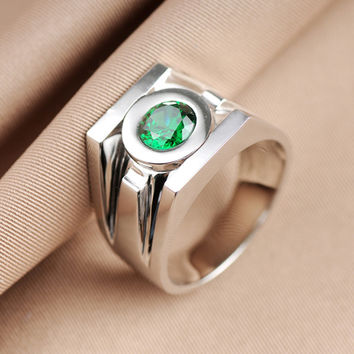 Top Quality Real 925 Sterling Silver Replica Movie Jewelry Superhero Green Lantern Rings Band For Men Free Engraving Drop Ship