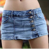 Stylish Korean Women's Slim Blue Denim Fabric Jeans Shorts Hot Pants Skirts S-XL