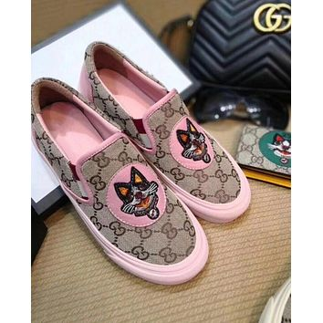 GUCCI Popular Old Skool Embroidery Dog Pattern Slip-On Flats Shoes Sneakers Sport Shoes Pink I12272-1