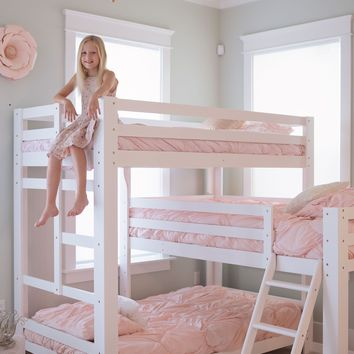 Sydney L-Shaped Triple Bunk Bed in White