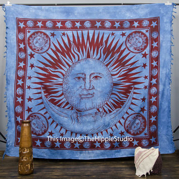 Wall Tapestries, Tapestry Wall Hanging, Celestial Sun Moon Hippie Tapestry, Bohemian Tapestries, Boho Bed Spread, Dorm Bedding, Wall Art