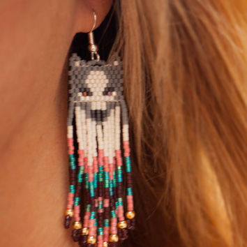Beaded Grey Wolf Earrings with Dangling Pink and Blue Fringe