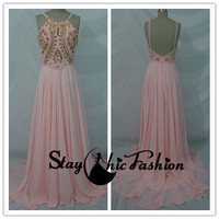 Pink Long Beaded Top Low Back Spaghetti Strap Chiffon Prom Dress Outlet