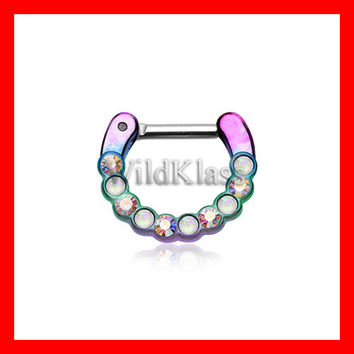 Opal Septum Clicker 16g 14g Colorline Opal Paradigm Rainbow Aurora Borealis Purple Aqua Septum Ring Cartilage Tragus Helix Conch Nose Belly
