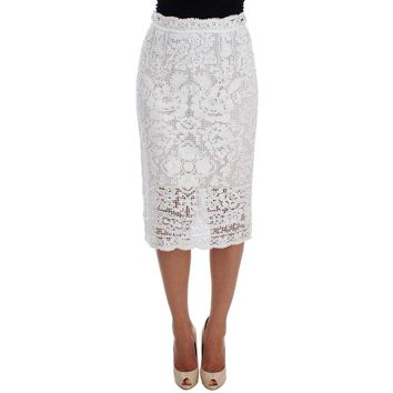 Dolce & Gabbana White Cotton Ricamo Lace Pencil Skirt