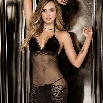 Velvet And Lace Chemise