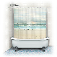 "Shower Curtain ""Flight"" ocean,beach, aqua home decor,teal,turquoise,nautical decor,seagulls,seashore,sand,summer"