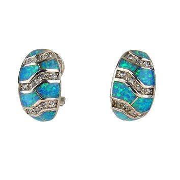 Blue Lab Created Opal Huggie Hoop Earrings, Vintage, 1930s to 1980s