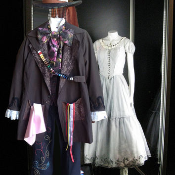 Tim Burton's Mad Hatter Complete Costume - Coat , Shirt, Vest, Pants, Necktie, Hat, Thread Sash and Boots - 100% handmade
