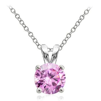 925 Sterling Silver 2ct Light Pink Cubic Zirconia 8mm Round Solitaire Necklace