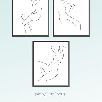 Art set of three minimalist nudes for gallery wall. Black and white line art prints 10x8 inches or A4.