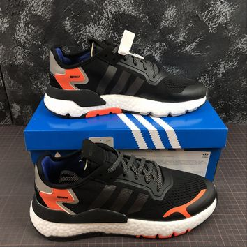 hcxx A1165 Adidas Nite Jogger 2019 3M Reflection Boost Running Shoes Black Orange