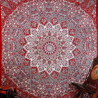 Red Colored Star Elephant Mandla Hippie Tapestries Wall Hanging , Indian Mandala Tapestry Bedspread , Dorm Tapestry , Vintage Decorative Wall Hanging , Traditional Tapestries for Dorms