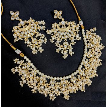Yellow gold finish kundan like stone embedded faux pearl Choker Necklace and long Earring set