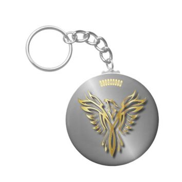 Rising Golden Phoenix Gold Flames With Shadows Keychain
