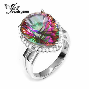 Huge 13ct Genuine Rainbow Fire Mystic Topaz Ring Gem Stone Pure Solid 925 Sterling Silver Ring Brand New engagement For Women