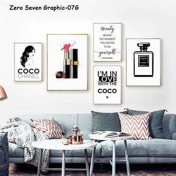 07G Fashion Women Luxury Perfume Lipstick A3 Canvas Painting Posters And Prints Living Room Wall Art Pictures Home Decor Murals