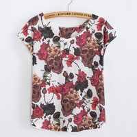 Skeleton Rose Casual T-shirt