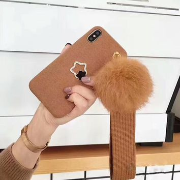 Squishy iPhone  Plush Ball Furry felt Star Phone cases with Strap For iPhone 6 Capa for iPhone 8 case For iPhone X Gift