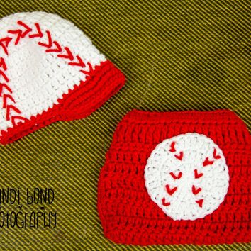 Crochet Baseball hat and Diaper Cover Set