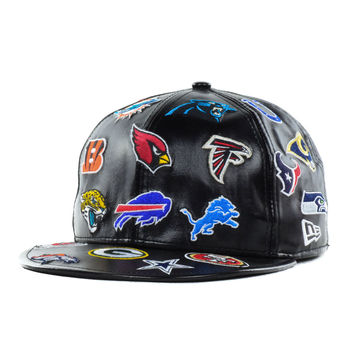 New Era NFL Leather All Over Team Patch 59FIFTY Cap - http://www.anrdoezrs.net/click-7710548-11191294?url=http%3A%2F%2Fshop.neweracap.com%2Fproduct%2F20583618 / Black / 100% Polyurethane