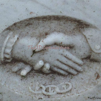 Digital Photograph,Victorian, Hands of Love, Galveston Episcopal Cemetery Tomb Stone, Photograph by TheIDConnection