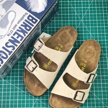 Birkenstock Arizona Soft Footbed Suede Leather White Sandals - Best Online Sale