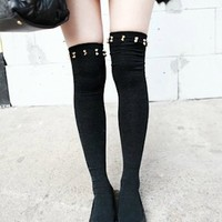 Women Punk Rock Studs Spike Studded Glamor Black Knee High Leg wear Socks