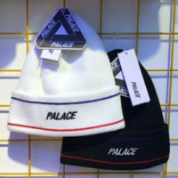 PALACE Autumn and winter new fashion embroidery letter knit cap couple warm hat two color