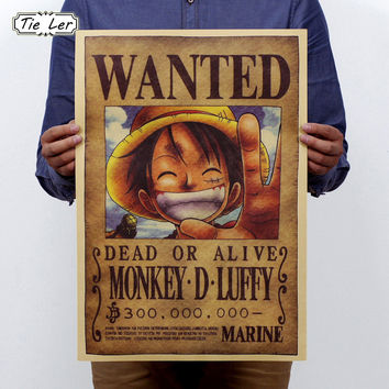 TIE LER Home Decor Wall Stickers Vintage Paper Anime Poster One Piece Posters Luffy Wanted