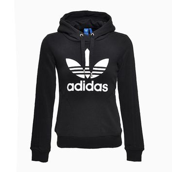 Adidas Originals Black Three Stripe Slim Pullover Hoodie