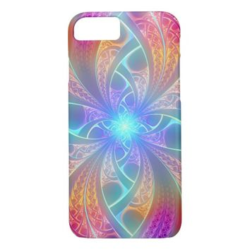 Psychedelic Rainbow Swirls Fractal Pattern iPhone 7 Case