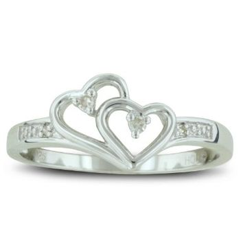 Double Heart Diamond Promise Ring ( Availabe Sizes 4-9):Amazon:Jewelry