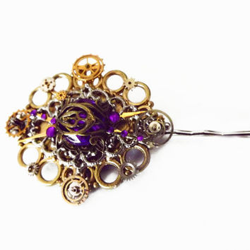 Steampunk hair piece, Steampunk hair pin, purple crystal hair pin, victorian hair piece, steampunk hair jewelry, OOAK, unique hair pin
