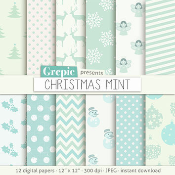 """Christmas digital paper: """"CHRISTMAS MINT"""" with white and mint xmas patterns, incl light teal deers, blue snowflakes, trees, angels, balls"""