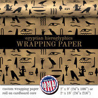 Egyptian Hieroglyphics Gift Wrapping Paper | Custom Gift Wrap Egyptian Hieroglyphics In Two Sizes Great For Any Occasion. Made In The USA