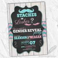 Staches or Lashes Gender Reveal Invitations