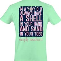 Gliks - Simply Southern Preppy Collection Shell and Sand T-shirt for Women