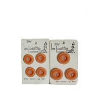 "Vintage Buttons Orange Lot La Petite - Two New Old Stock Cards - 7 Matching Buttons Total Contains 3/4"" and 7/8"""