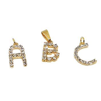 "(1-2453-h7) Gold Overlay Crystals Letter Initials Pendant, 3/4""."