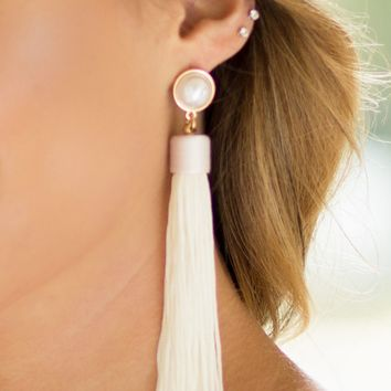 Pearl & Tassel Earrings | Monday Dress