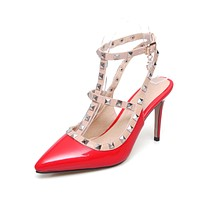 Women's Pointed Toe High Heels Rivets Stiletto Heel Sandals
