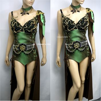 Medusa Snake Charmer Greek Goddess Necklace Bra Corset and Skirt Costume
