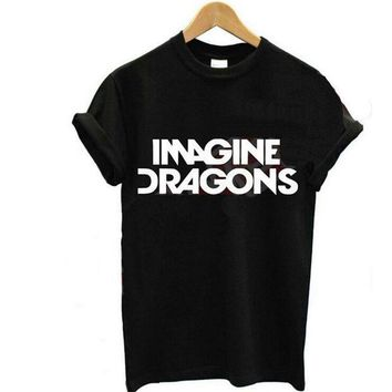 2015 New Women T Shirt Imagine Dragons Letters Print Cotton T Shirt Casual Funny Shirt For Lady Black White Top Tees Plus Size