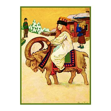 Young Girl Riding a Ram Santa Lucia Festival by Gerda Tiren Holiday Christmas Counted Cross Stitch Pattern