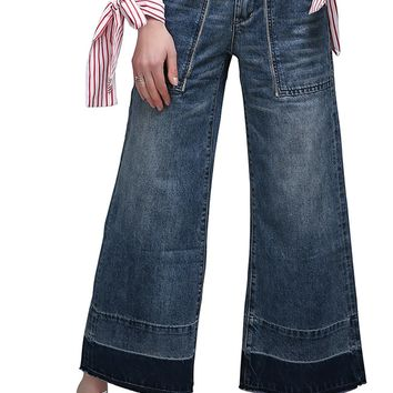 High Waist Solid Color Loose Wide-legs Long Jeans Denim Pants