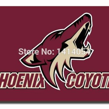 Phoenix Coyotes wordmark Flag 150X90CM NHL 3X5FT Banner 100D Polyester flag grommets 009, free shipping